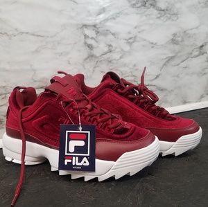 Fila Disruptors 2 Womens Sneakers Velvet Red Sz 7